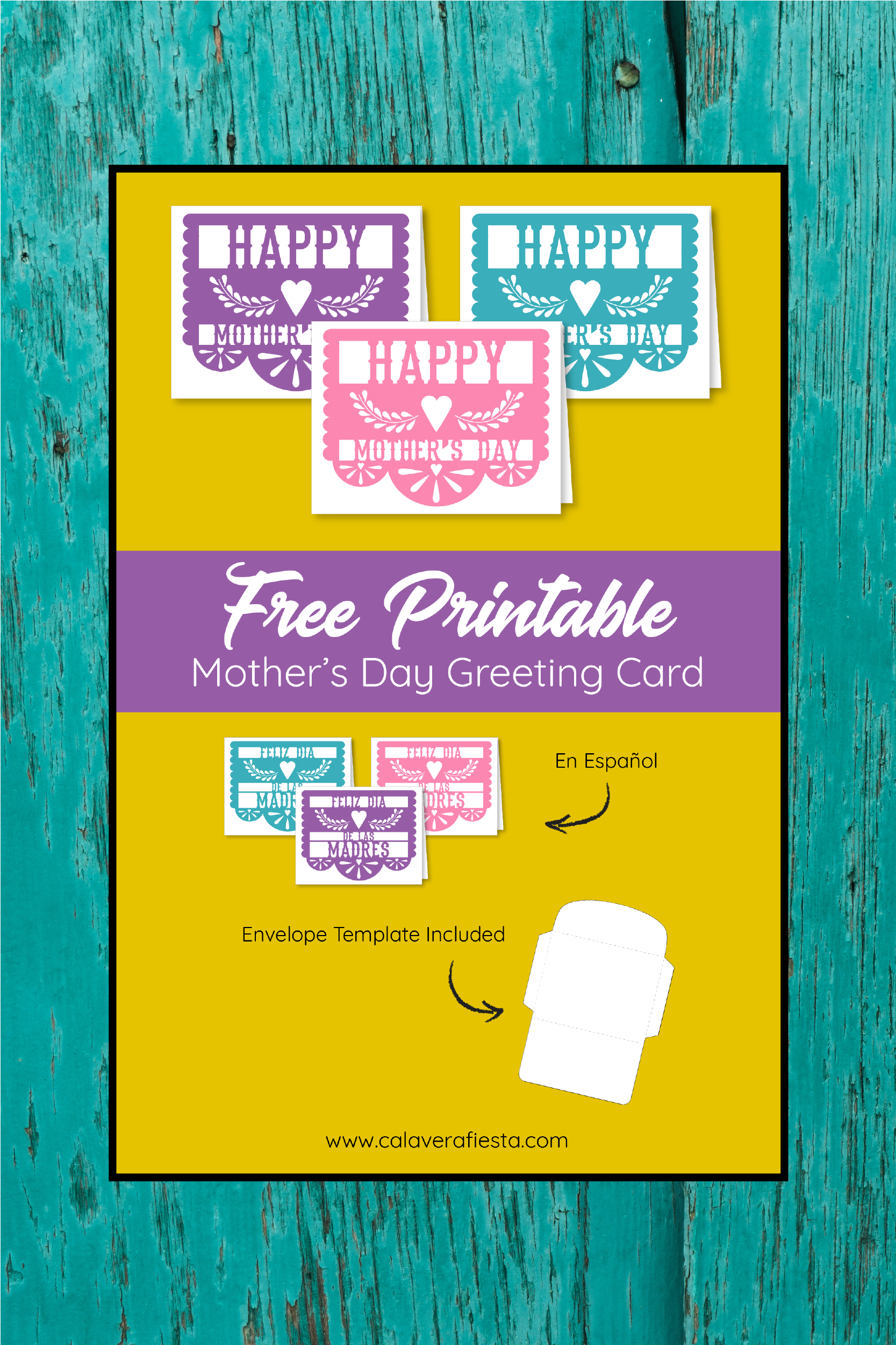 image regarding Papel Picado Template Printable identified as Moms Working day Papel Picado Printable Card - Calavera Fiesta